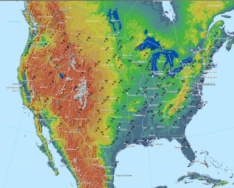 Ndfd Maximum Temperature Data On Map Of United States